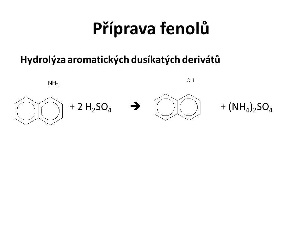 Příprava fenolů Hydrolýza aromatických dusíkatých derivátů + 2 H 2 SO 4  + (NH 4 ) 2 SO 4