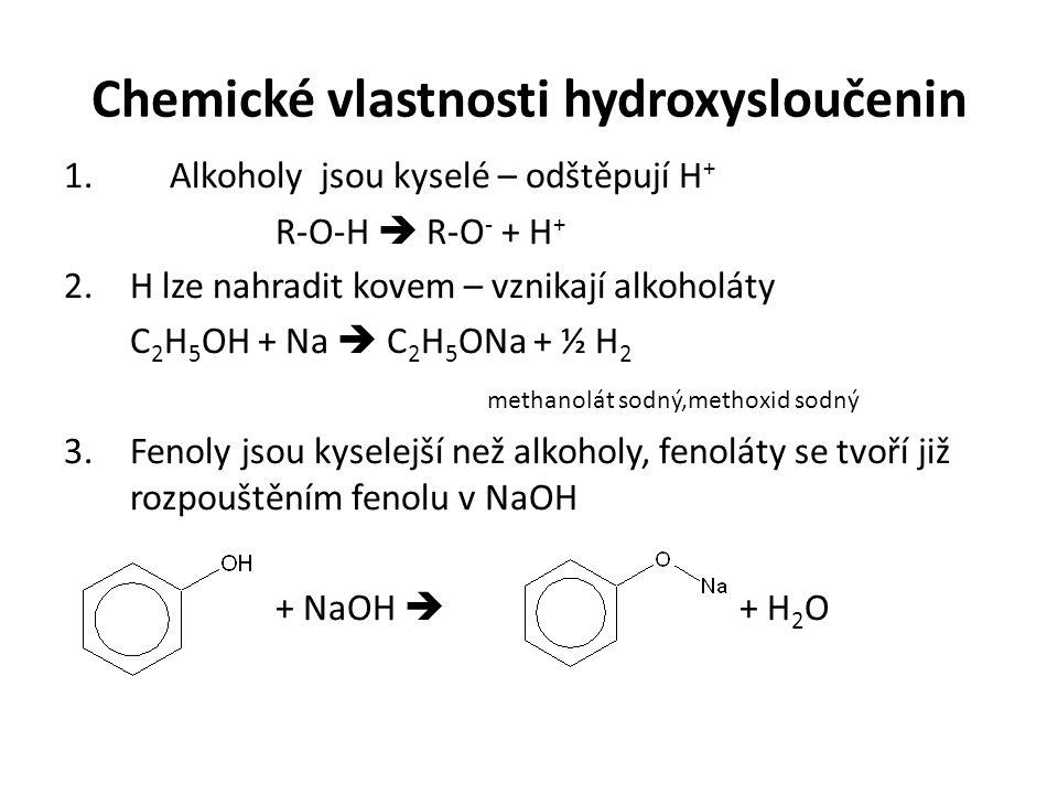 Chemické vlastnosti hydroxysloučenin 1.Alkoholy jsou kyselé – odštěpují H + R-O-H  R-O - + H + 2.H lze nahradit kovem – vznikají alkoholáty C 2 H 5 OH + Na  C 2 H 5 ONa + ½ H 2 methanolát sodný,methoxid sodný 3.Fenoly jsou kyselejší než alkoholy, fenoláty se tvoří již rozpouštěním fenolu v NaOH + NaOH  + H 2 O