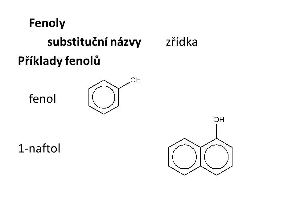 Fyzikální vlastnosti hydroxysloučenin kapaliny – od dodecylalkoholu pevné látky fenol – tuhá látka alkoholy obsahují H-můstky alkoholy s nejvýše 3 uhlíky jsou neomezeně mísitelné s vodou, vyšší se mísí omezeně, nejvyšší se nemísí rozpustnost fenolů ve vodě je malá