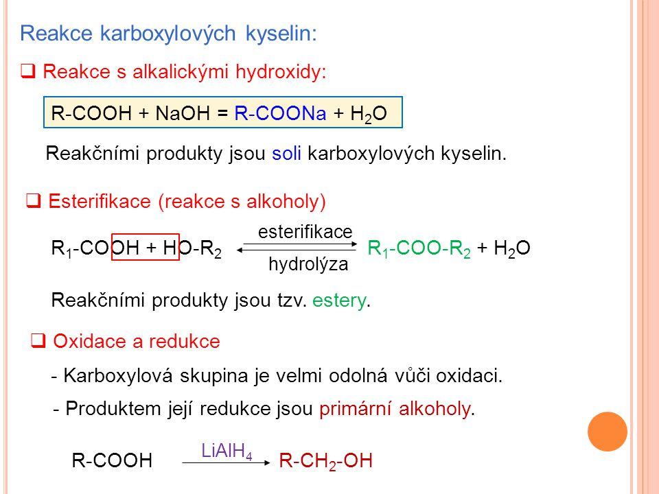 Reakce karboxylových kyselin:  Reakce s alkalickými hydroxidy: Reakčními produkty jsou soli karboxylových kyselin. R 1 -COOH + HO-R 2 R 1 -COO-R 2 +