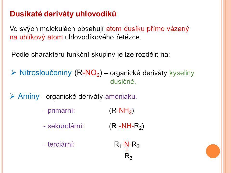 Dusíkaté deriváty uhlovodíků  Nitrosloučeniny (R-NO 2 ) – organické deriváty kyseliny dusičné. Ve svých molekulách obsahují atom dusíku přímo vázaný
