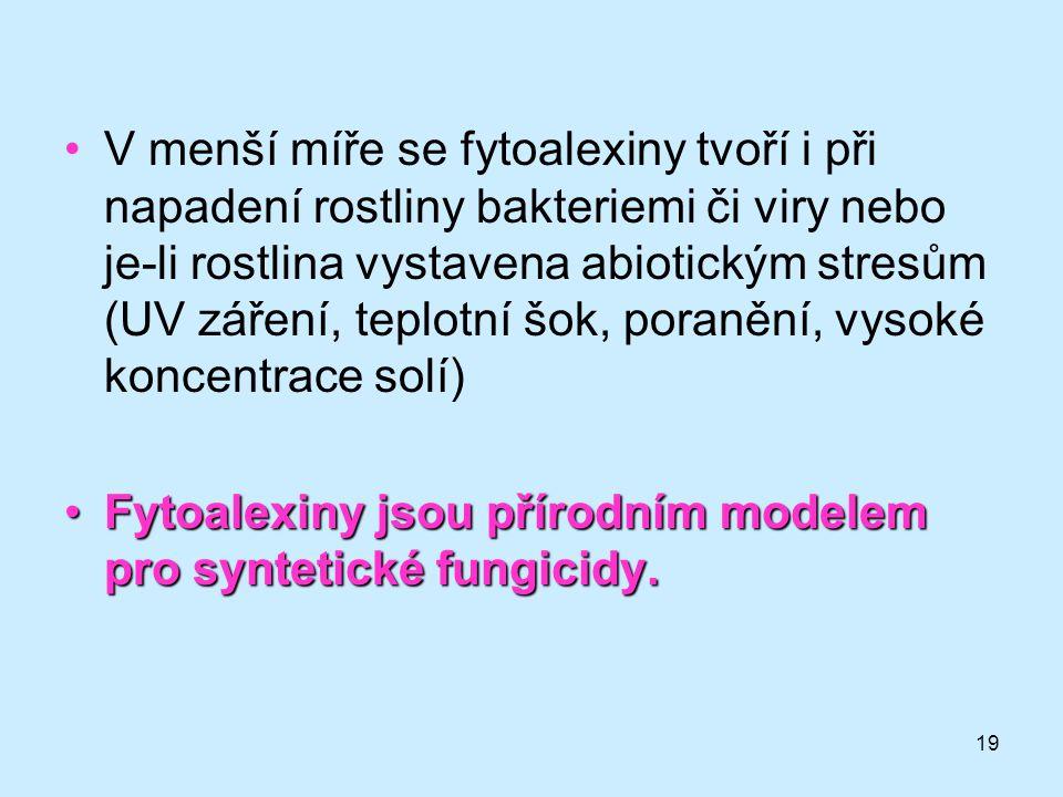 19 V menší míře se fytoalexiny tvoří i při napadení rostliny bakteriemi či viry nebo je-li rostlina vystavena abiotickým stresům (UV záření, teplotní