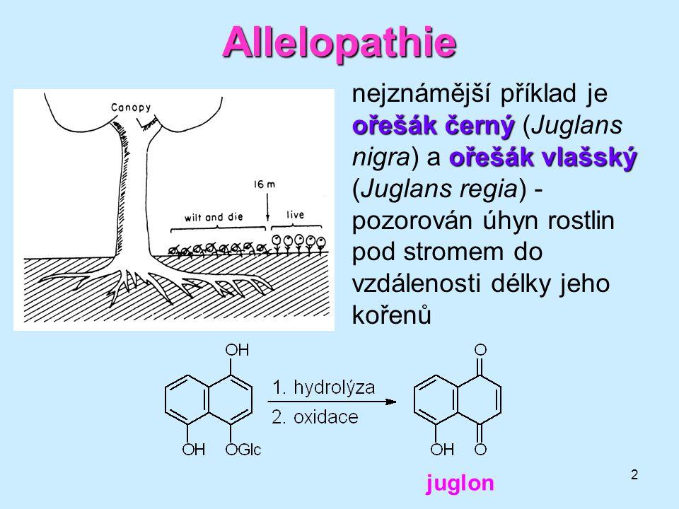 2 Allelopathie ořešák černý ořešák vlašský nejznámější příklad je ořešák černý (Juglans nigra) a ořešák vlašský (Juglans regia) - pozorován úhyn rostl