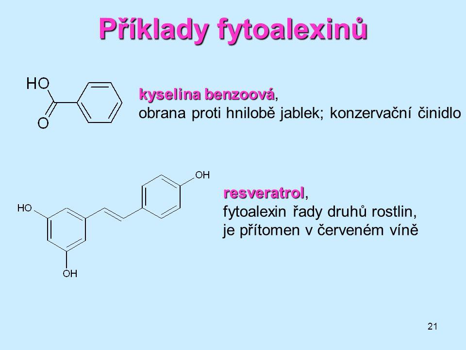 21 Příklady fytoalexinů kyselina benzoová kyselina benzoová, obrana proti hnilobě jablek; konzervační činidlo resveratrol resveratrol, fytoalexin řady