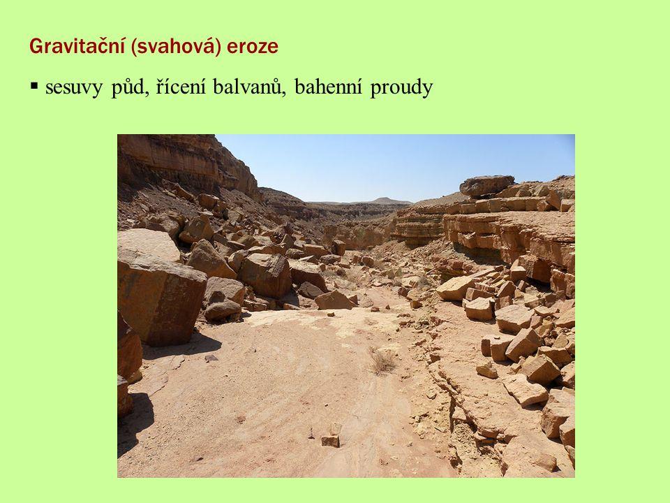 Gravitační (svahová) eroze  sesuvy půd, řícení balvanů, bahenní proudy
