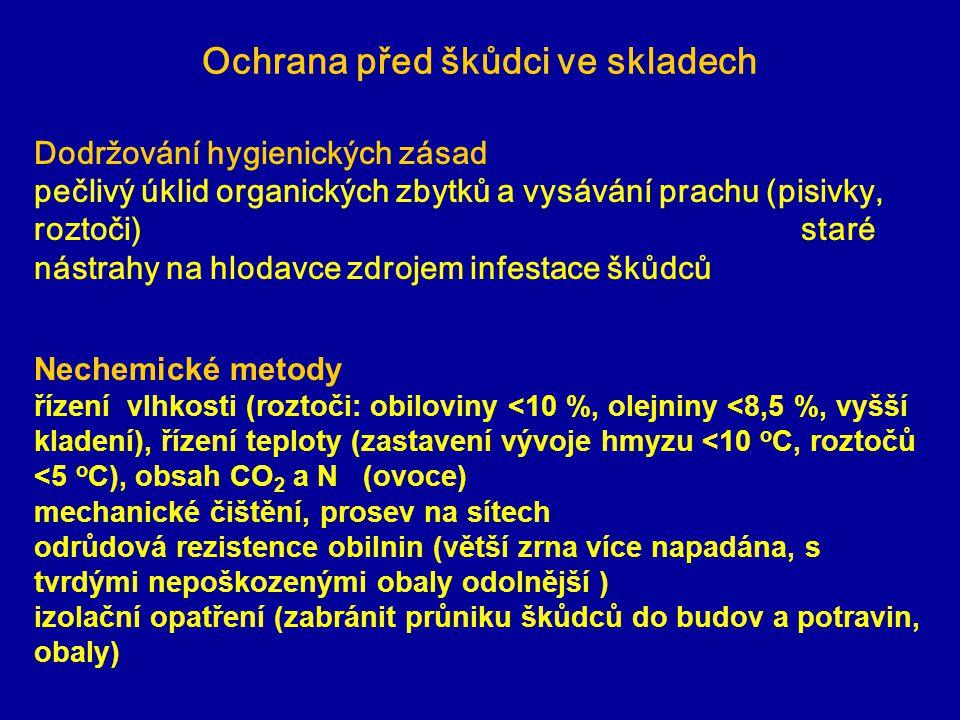 Ochrana před škůdci ve skladech Dodržování hygienických zásad pečlivý úklid organických zbytků a vysávání prachu (pisivky, roztoči) staré nástrahy na hlodavce zdrojem infestace škůdců Nechemické metody řízení vlhkosti (roztoči: obiloviny <10 %, olejniny <8,5 %, vyšší kladení), řízení teploty (zastavení vývoje hmyzu <10 o C, roztočů <5 o C), obsah CO 2 a N (ovoce) mechanické čištění, prosev na sítech odrůdová rezistence obilnin (větší zrna více napadána, s tvrdými nepoškozenými obaly odolnější ) izolační opatření (zabránit průniku škůdců do budov a potravin, obaly)