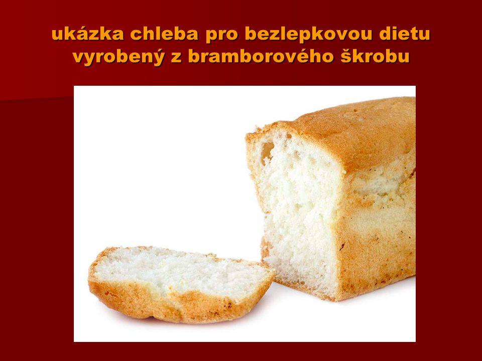 ukázka chleba pro bezlepkovou dietu vyrobený z bramborového škrobu
