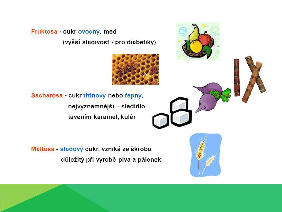 Fruktosa - cukr ovocný, med (vyšší sladivost - pro diabetiky) Sacharosa - cukr třtinový nebo řepný, nejvýznamnější – sladidlo tavením karamel, kulér M