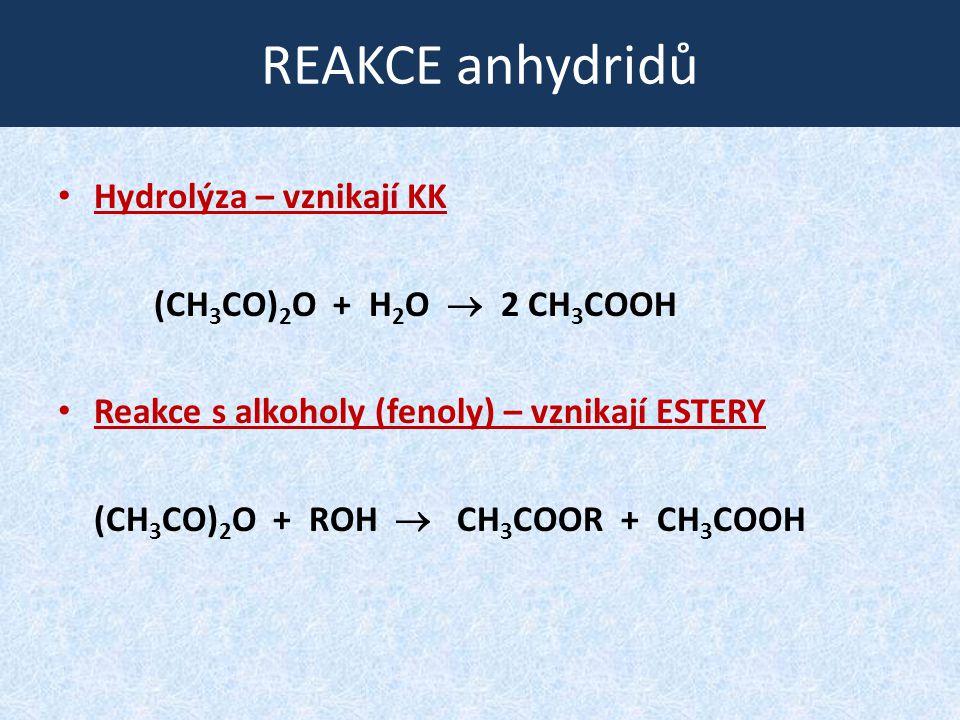 REAKCE anhydridů Hydrolýza – vznikají KK (CH 3 CO) 2 O + H 2 O  2 CH 3 COOH Reakce s alkoholy (fenoly) – vznikají ESTERY (CH 3 CO) 2 O + ROH  CH 3 COOR + CH 3 COOH