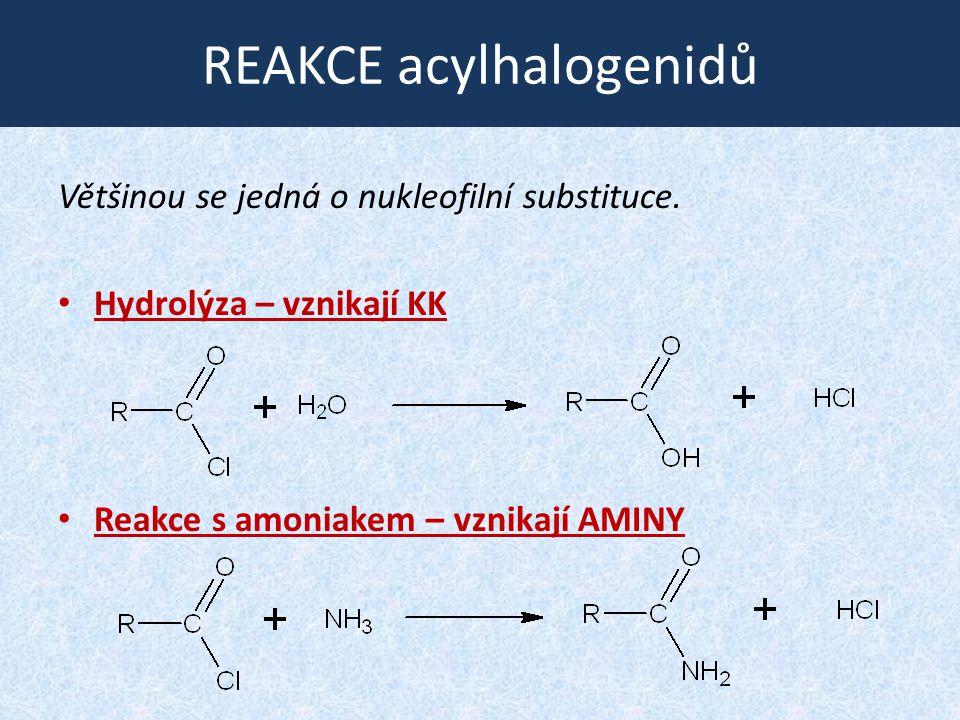 NITRILY STRUKTURA: Základní metody přípravy: - z halogenderivátů R-Cl + NaCN  R-CN + NaCl - dehydratací amidů RCONH 2  R-CN + H 2 O (provádí se působením oxidu fosforečného) R-C≡N