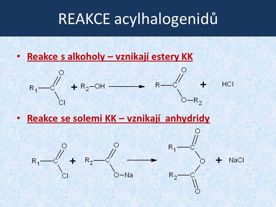 REAKCE acylhalogenidů Reakce s alkoholy – vznikají estery KK Reakce se solemi KK – vznikají anhydridy