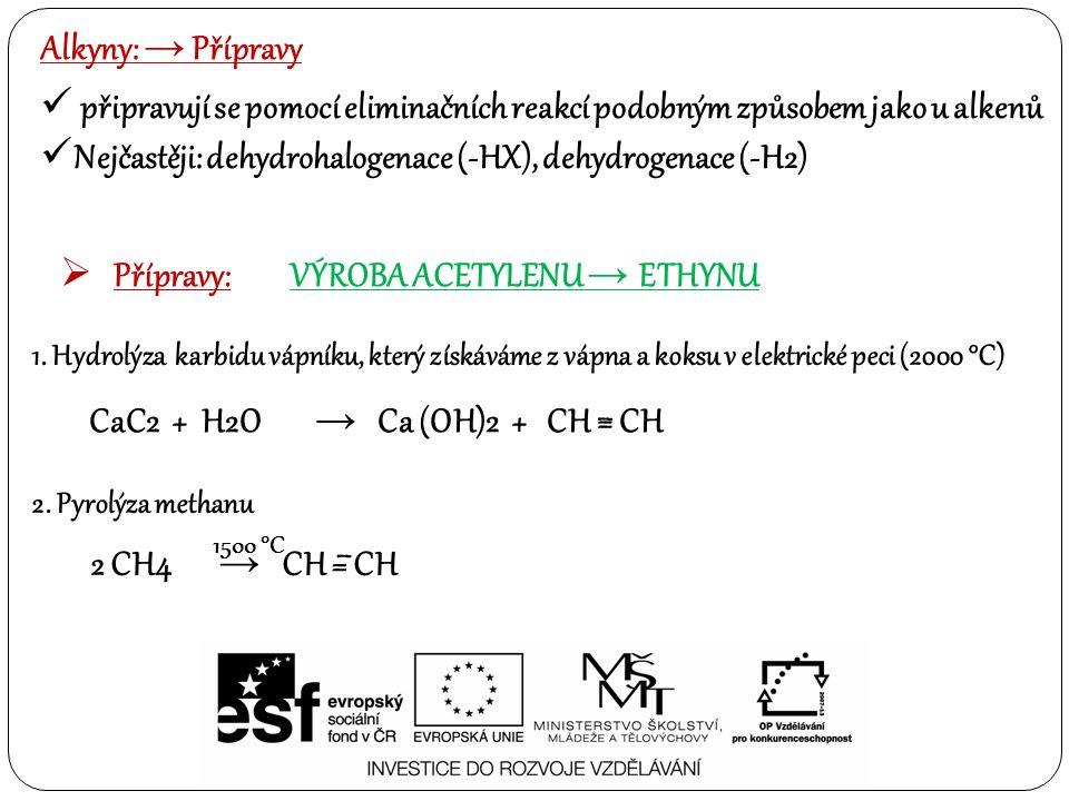 Alkyny: → Přípravy připravují se pomocí eliminačních reakcí podobným způsobem jako u alkenů Nejčastěji: dehydrohalogenace (-HX), dehydrogenace (-H2)  Přípravy:VÝROBA ACETYLENU → ETHYNU 1.