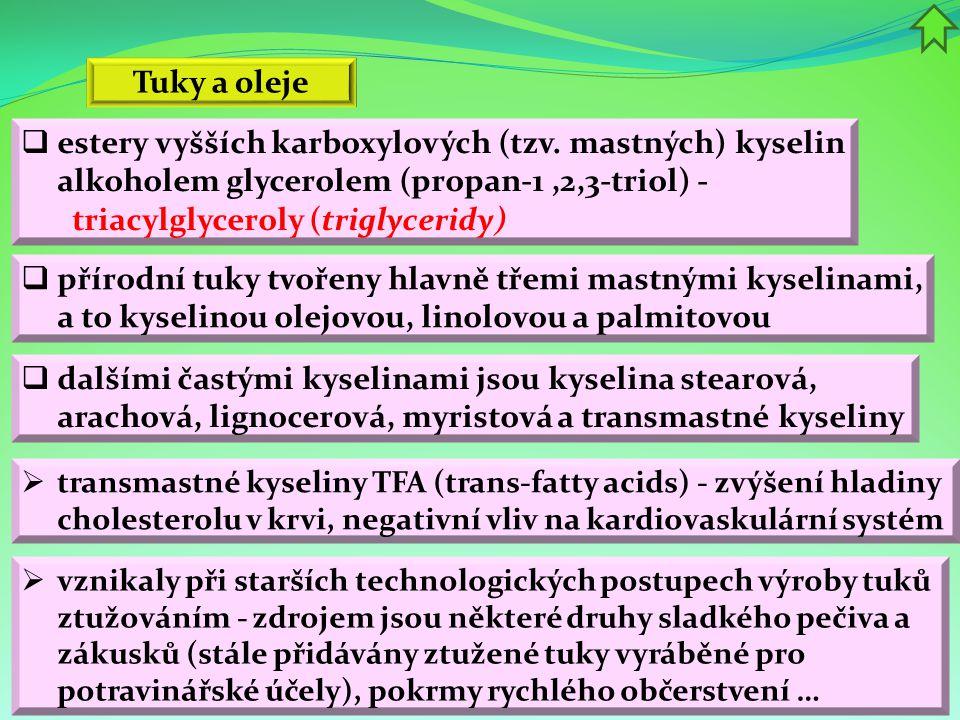 estery vyšších karboxylových (tzv. mastných) kyselin alkoholem glycerolem (propan-1,2,3-triol) - triacylglyceroly (triglyceridy) Tuky a oleje  tran