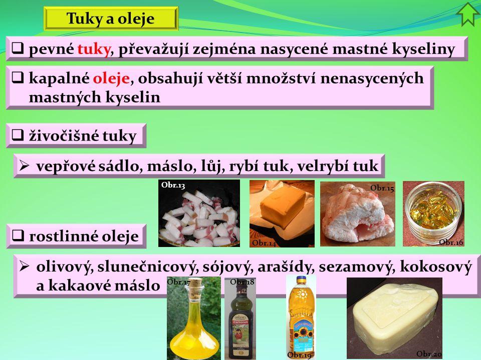  pevné tuky, převažují zejména nasycené mastné kyseliny Tuky a oleje  vepřové sádlo, máslo, lůj, rybí tuk, velrybí tuk  živočišné tuky  kapalné ol