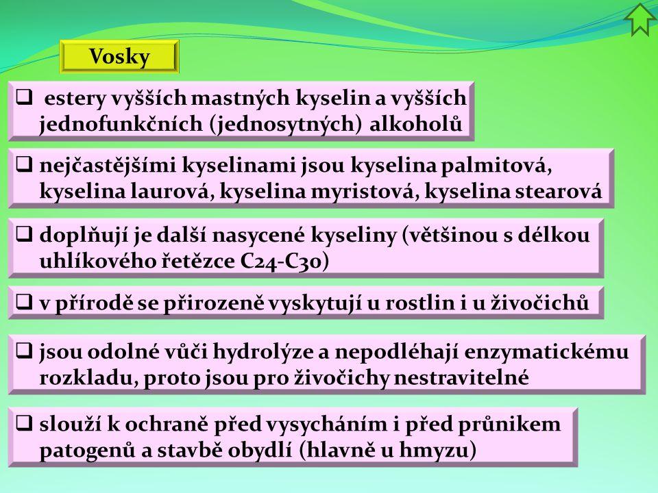  estery vyšších mastných kyselin a vyšších jednofunkčních (jednosytných) alkoholů Vosky  v přírodě se přirozeně vyskytují u rostlin i u živočichů 