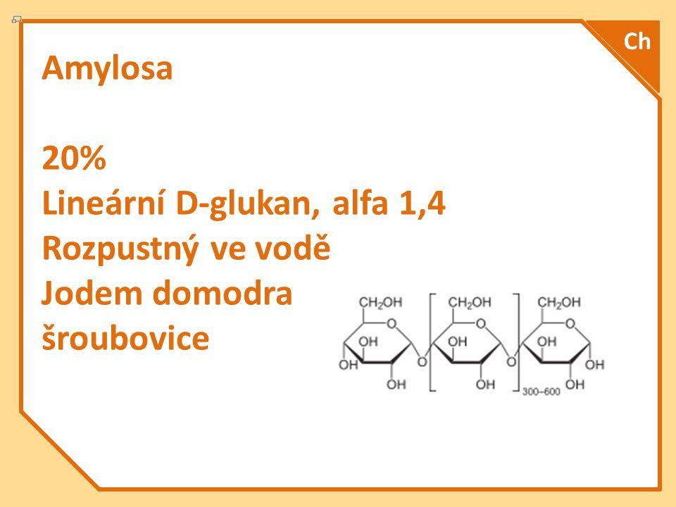 Amylosa 20% Lineární D-glukan, alfa 1,4 Rozpustný ve vodě Jodem domodra šroubovice Ch