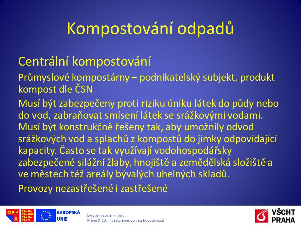 Evropský sociální fond Praha & EU: Investujeme do vaší budoucnosti Kompostování odpadů Centrální kompostování Průmyslové kompostárny – podnikatelský s