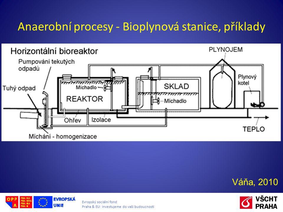 Evropský sociální fond Praha & EU: Investujeme do vaší budoucnosti Anaerobní procesy - Bioplynová stanice, příklady Váňa, 2010