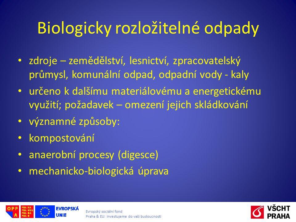 Evropský sociální fond Praha & EU: Investujeme do vaší budoucnosti Biologicky rozložitelné odpady zdroje – zemědělství, lesnictví, zpracovatelský prům