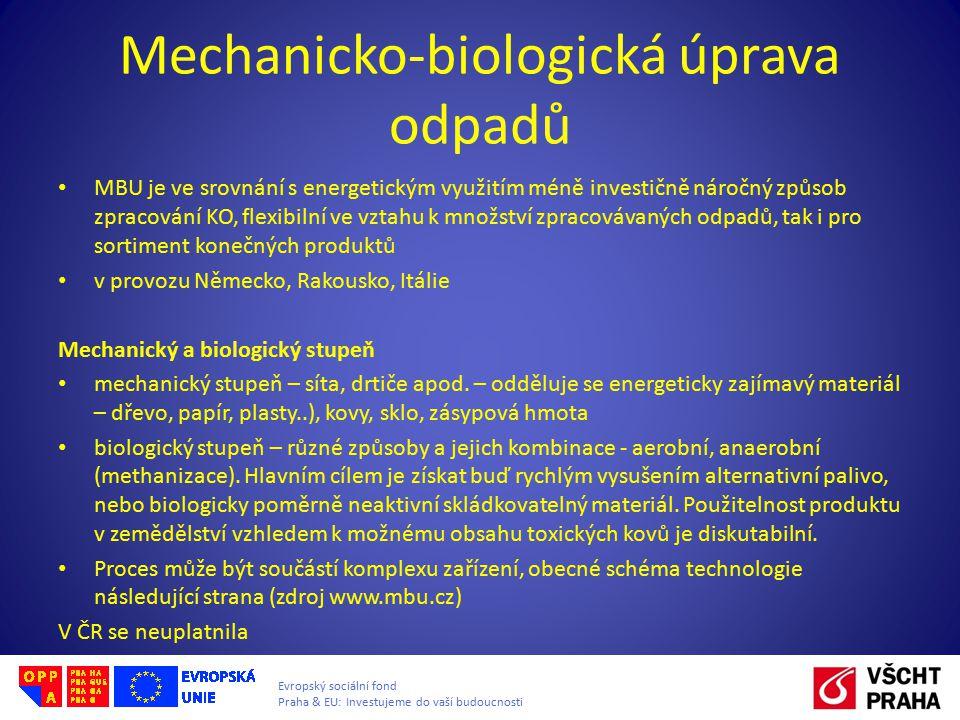 Evropský sociální fond Praha & EU: Investujeme do vaší budoucnosti Mechanicko-biologická úprava odpadů MBU je ve srovnání s energetickým využitím méně