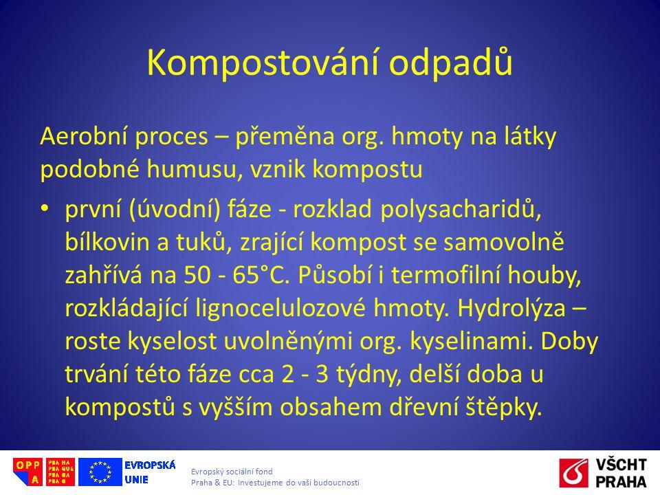 Evropský sociální fond Praha & EU: Investujeme do vaší budoucnosti Kompostování odpadů druhá fáze – klesá teplota na 40 – 45 °C, mění se složení mikroorganismů, vznikají humusové látky, není seznatelné původní složení odpadu dozrávání kompostu – hmota hnědne, roste mol.