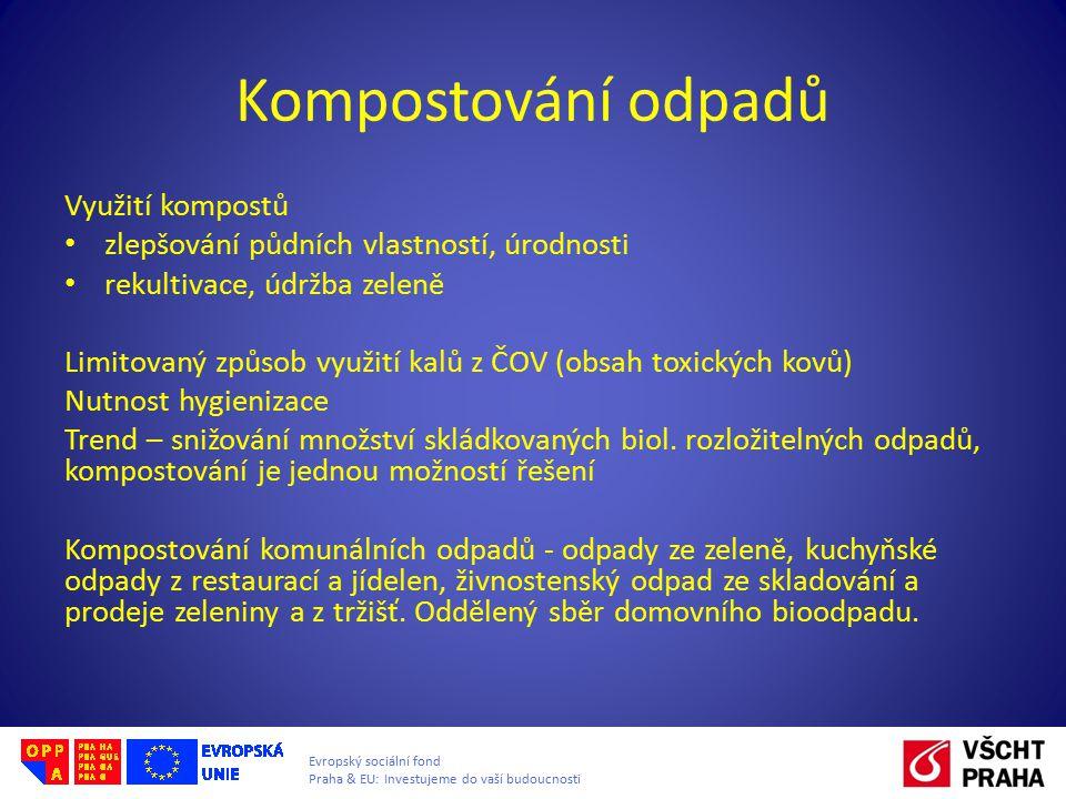 Evropský sociální fond Praha & EU: Investujeme do vaší budoucnosti Kompostování odpadů Využití kompostů zlepšování půdních vlastností, úrodnosti rekul