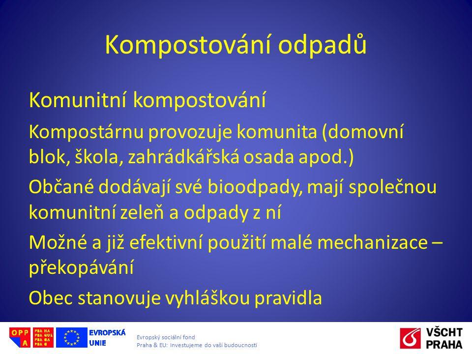 Evropský sociální fond Praha & EU: Investujeme do vaší budoucnosti Kompostování odpadů Centrální kompostování Průmyslové kompostárny – podnikatelský subjekt, produkt kompost dle ČSN Musí být zabezpečeny proti riziku úniku látek do půdy nebo do vod, zabraňovat smísení látek se srážkovými vodami.