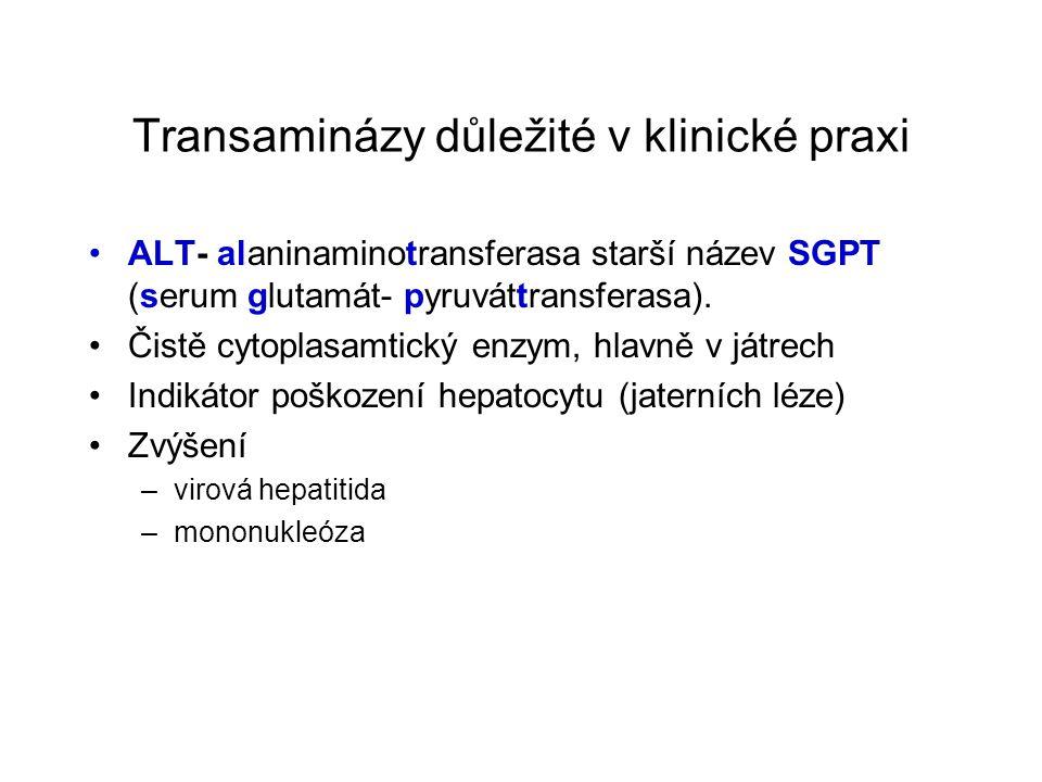 Transaminázy důležité v klinické praxi ALT- alaninaminotransferasa starší název SGPT (serum glutamát- pyruváttransferasa). Čistě cytoplasamtický enzym