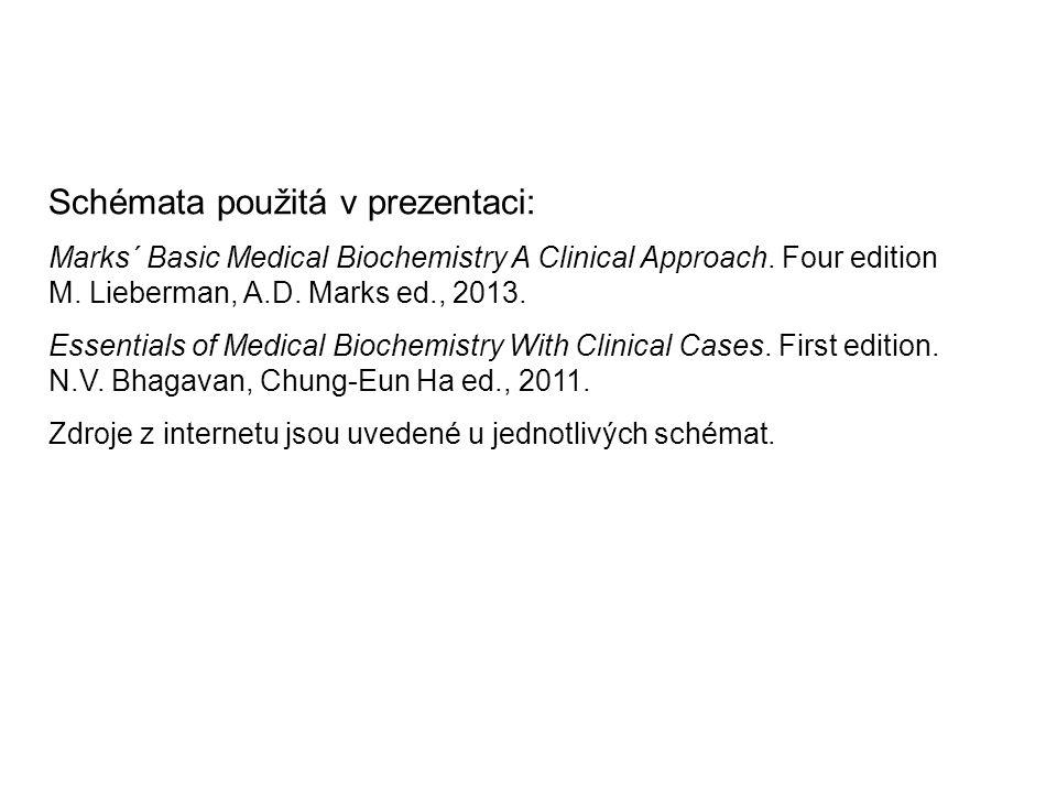 Schémata použitá v prezentaci: Marks´ Basic Medical Biochemistry A Clinical Approach. Four edition M. Lieberman, A.D. Marks ed., 2013. Essentials of M
