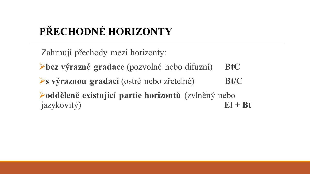 Zahrnují přechody mezi horizonty:  bez výrazné gradace (pozvolné nebo difuzní)BtC  s výraznou gradací (ostré nebo zřetelné)Bt/C  odděleně existujíc