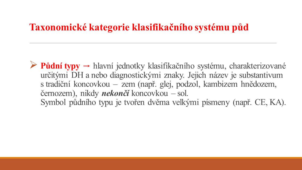  Půdní typy → hlavní jednotky klasifikačního systému, charakterizované určitými DH a nebo diagnostickými znaky. Jejich název je substantivum s tradič