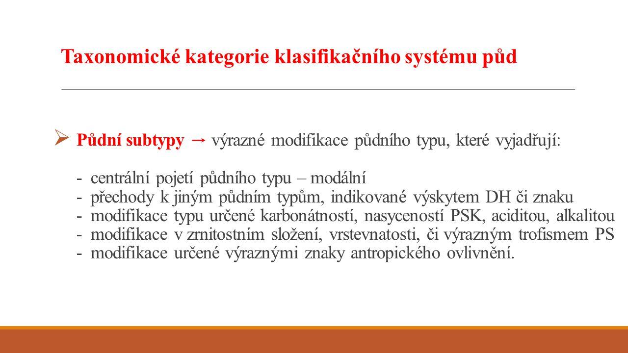  Půdní subtypy → výrazné modifikace půdního typu, které vyjadřují: - centrální pojetí půdního typu – modální - přechody k jiným půdním typům, indikov