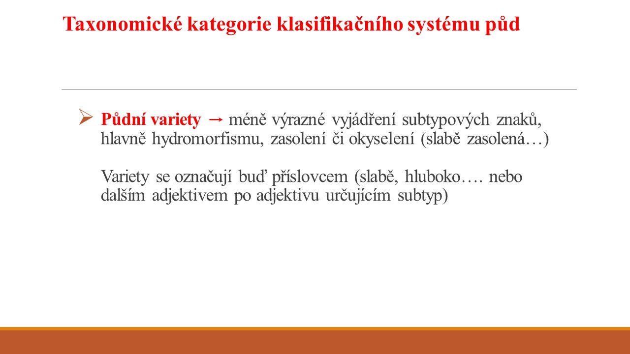  Půdní variety → méně výrazné vyjádření subtypových znaků, hlavně hydromorfismu, zasolení či okyselení (slabě zasolená…) Variety se označují buď přís