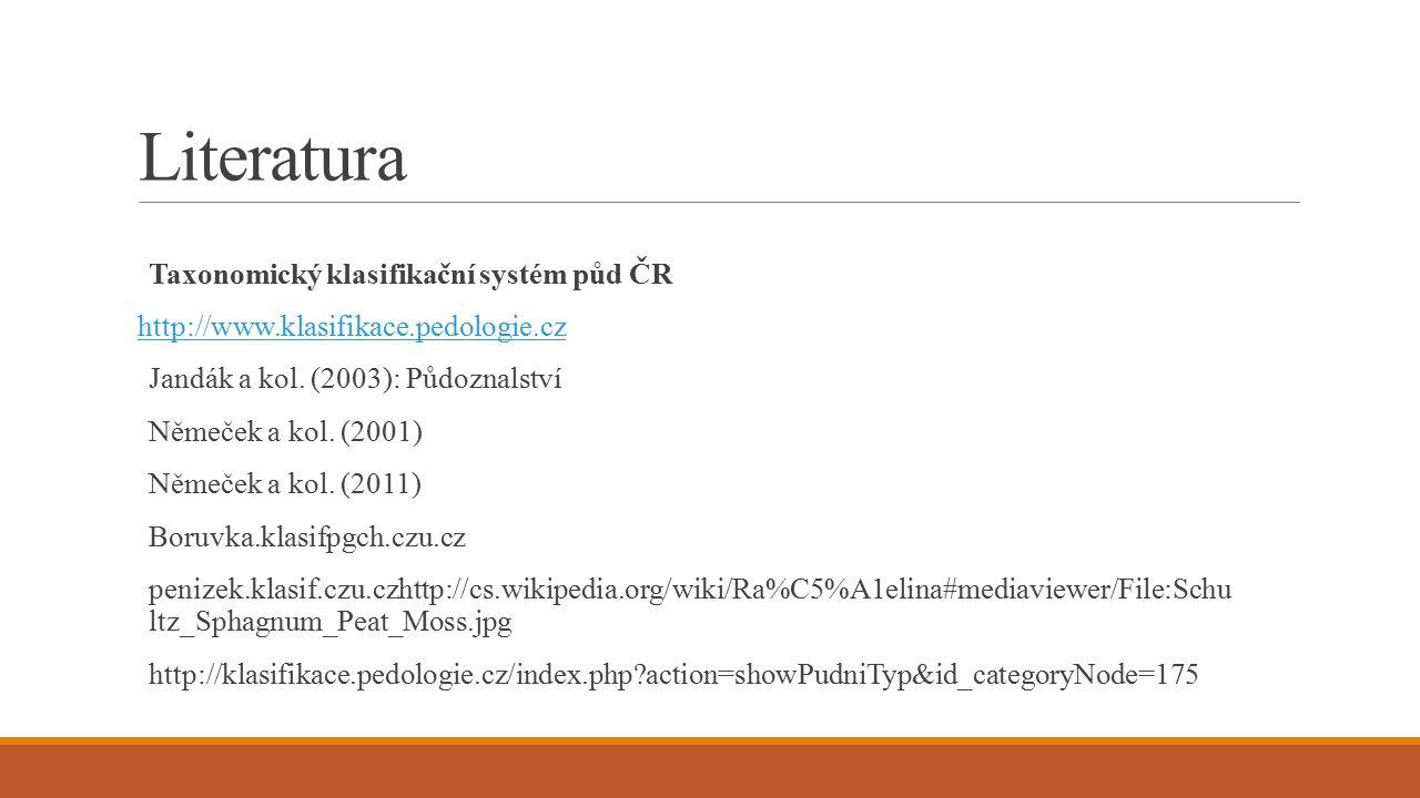 Literatura Taxonomický klasifikační systém půd ČR http://www.klasifikace.pedologie.cz Jandák a kol. (2003): Půdoznalství Němeček a kol. (2001) Němeček