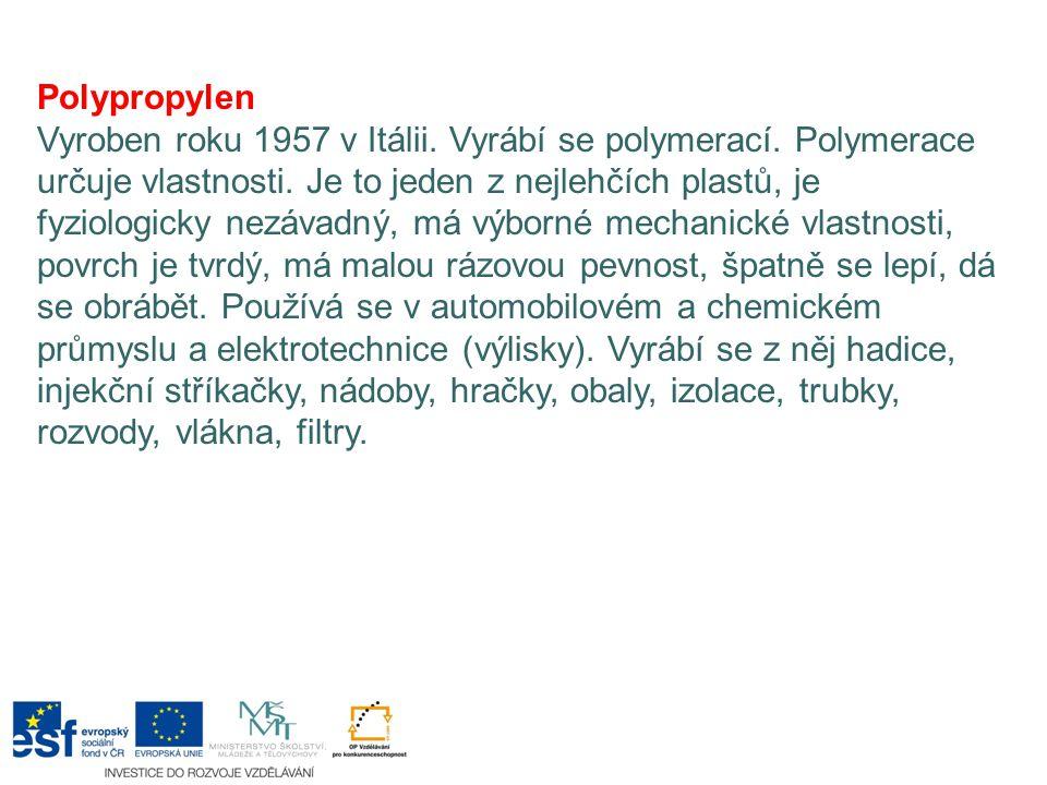 Polypropylen Vyroben roku 1957 v Itálii. Vyrábí se polymerací. Polymerace určuje vlastnosti. Je to jeden z nejlehčích plastů, je fyziologicky nezávadn