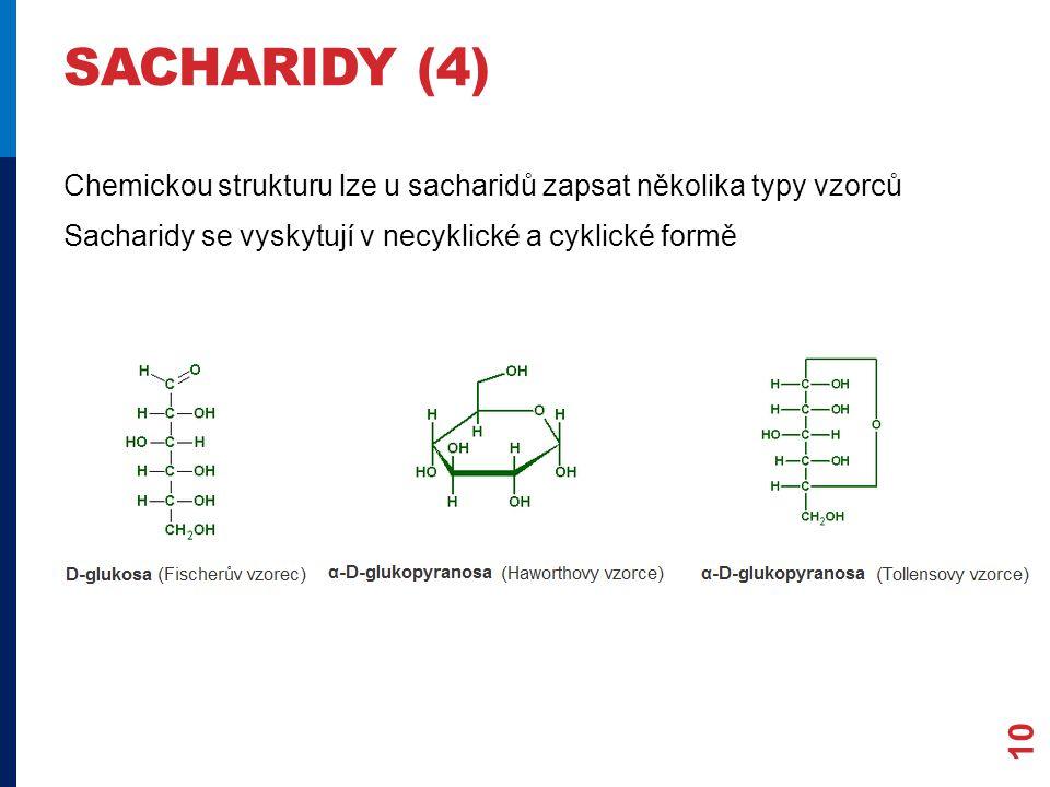 SACHARIDY (4) Chemickou strukturu lze u sacharidů zapsat několika typy vzorců Sacharidy se vyskytují v necyklické a cyklické formě 10