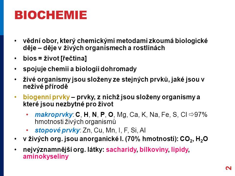 BIOCHEMIE vědní obor, který chemickými metodami zkoumá biologické děje – děje v živých organismech a rostlinách bios = život [řečtina] spojuje chemii a biologii dohromady živé organismy jsou složeny ze stejných prvků, jaké jsou v neživé přírodě biogenní prvky – prvky, z nichž jsou složeny organismy a které jsou nezbytné pro život makroprvky: C, H, N, P, O, Mg, Ca, K, Na, Fe, S, Cl  97% hmotnosti živých organismů stopové prvky: Zn, Cu, Mn, I, F, Si, Al v živých org.