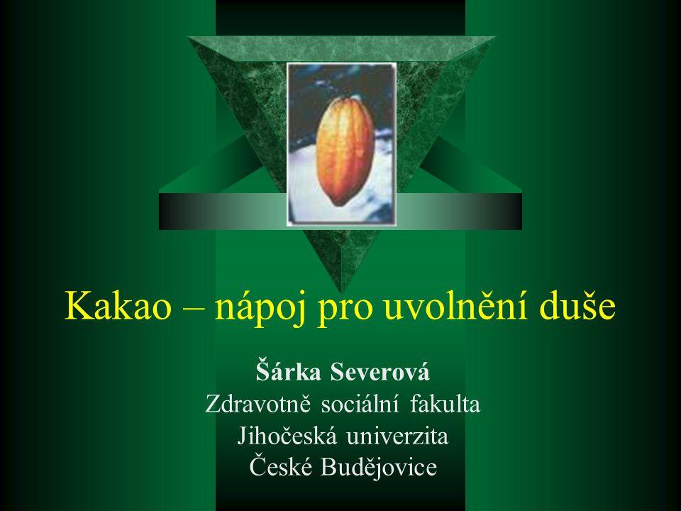 Kakao – nápoj pro uvolnění duše Šárka Severová Zdravotně sociální fakulta Jihočeská univerzita České Budějovice