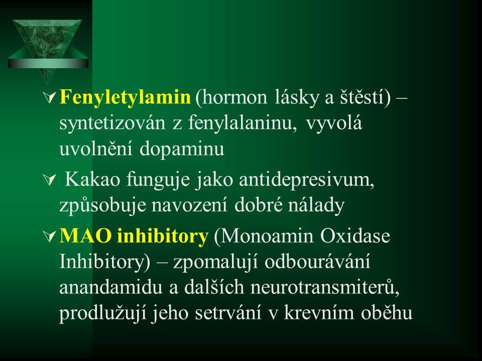  Theobromin – stimuluje CNS, uvolňuje svalstvo a rozšiřuje cévy - účinný na utišení kašle