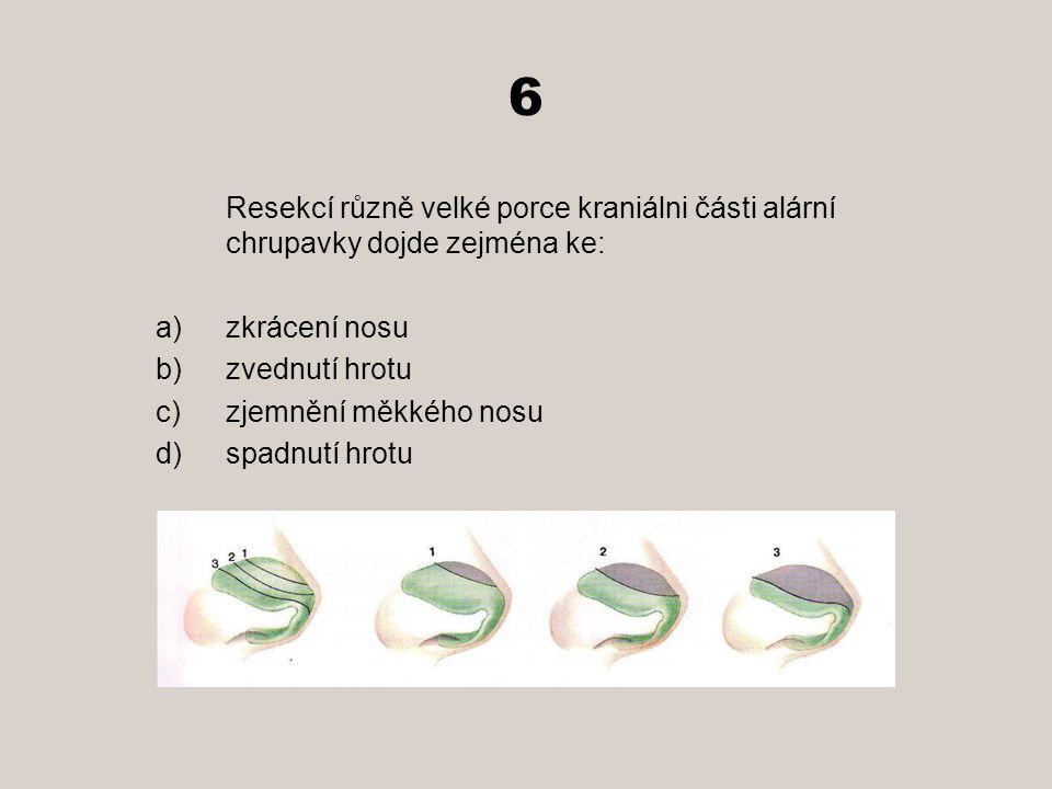 6 Resekcí různě velké porce kraniálni části alární chrupavky dojde zejména ke: a)zkrácení nosu b)zvednutí hrotu c)zjemnění měkkého nosu d)spadnutí hrotu