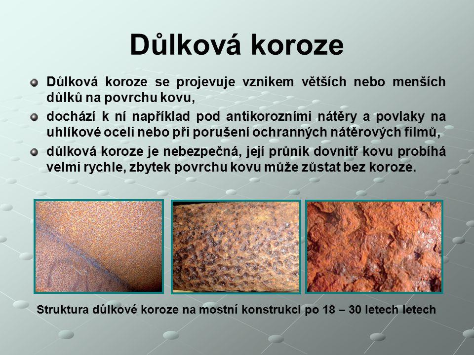 Důlková koroze Důlková koroze se projevuje vznikem větších nebo menších důlků na povrchu kovu, dochází k ní například pod antikorozními nátěry a povla