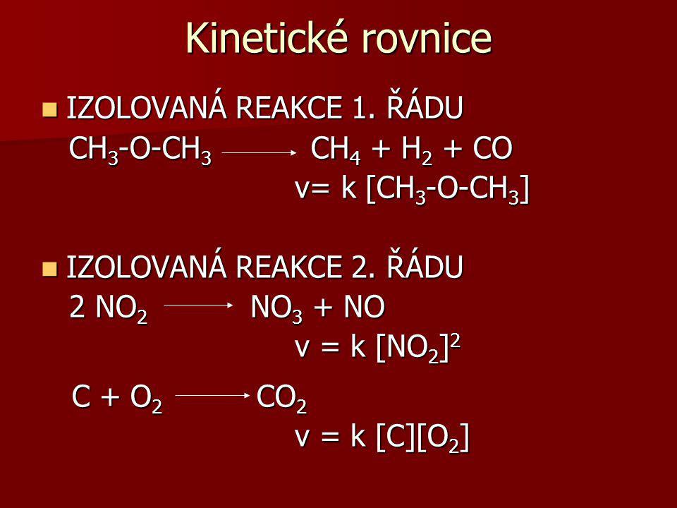 4 PH 3 P 4 + 6H 2 v= k [PH 3 ] CH 3 CHO CH 4 + CO v= k [CH 3 CHO] 3/2 v= k [CH 3 CHO] 3/2 NH 4 CNO CO(NH 2 ) 2 v= k [NH 4 CNO] 2 REAKCE SIMULTÁNNÍ