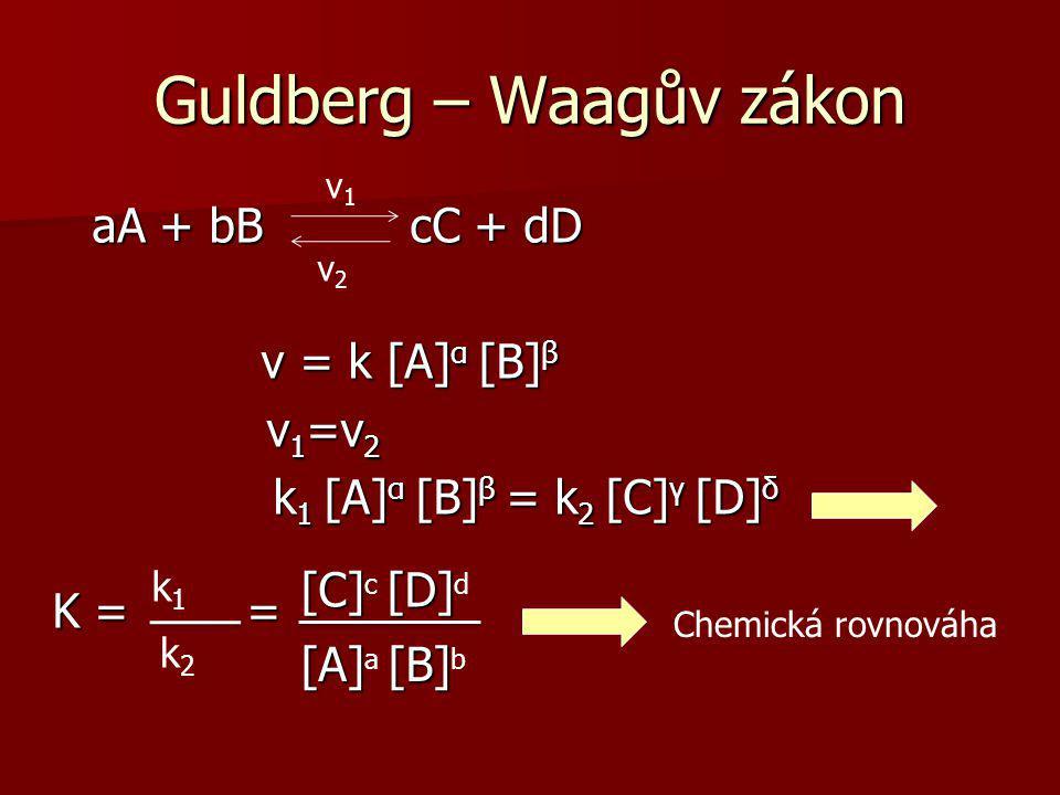 Guldberg – Waagův zákon v 1 …… výchozí látky v 2 …… reakční produkty v 1 =v 2 …….