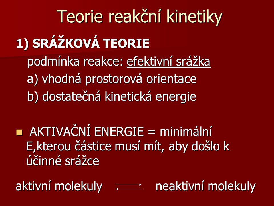 Teorie reakční kinetiky 1) Srážková teorie 2) Teorie aktivovaného komplexu