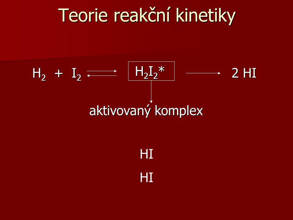 H 2 + I 2 2 HI H 2 + I 2 2 HI aktivovaný komplex aktivovaný komplex H H H H I I I I Teorie reakční kinetiky H2I2* H2I2* H2I2* H2I2*
