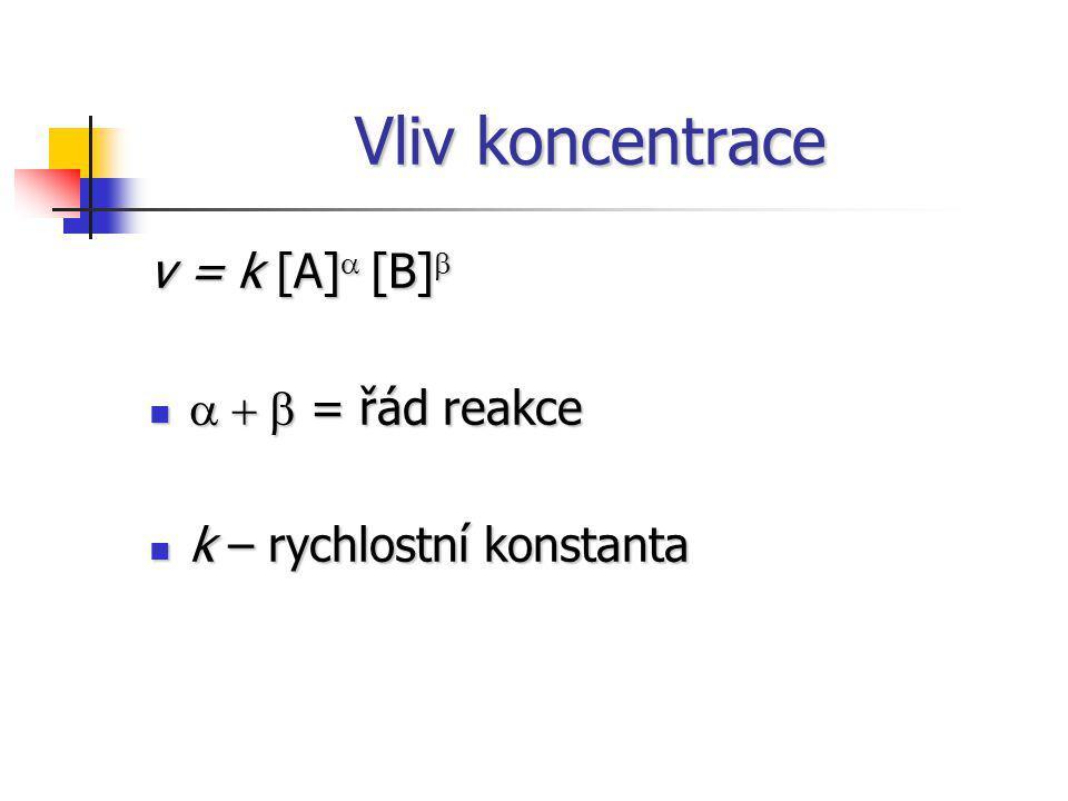 Vliv koncentrace v = k [A] a [B] b a + b = řád reakce a + b = řád reakce k – rychlostní konstanta k – rychlostní konstanta
