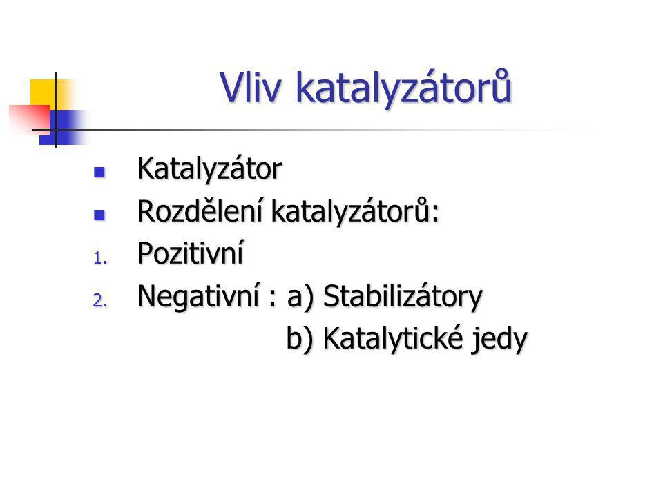 Vliv katalyzátorů Katalyzátor Katalyzátor Rozdělení katalyzátorů: Rozdělení katalyzátorů: 1. Pozitivní 2. Negativní : a) Stabilizátory b) Katalytické