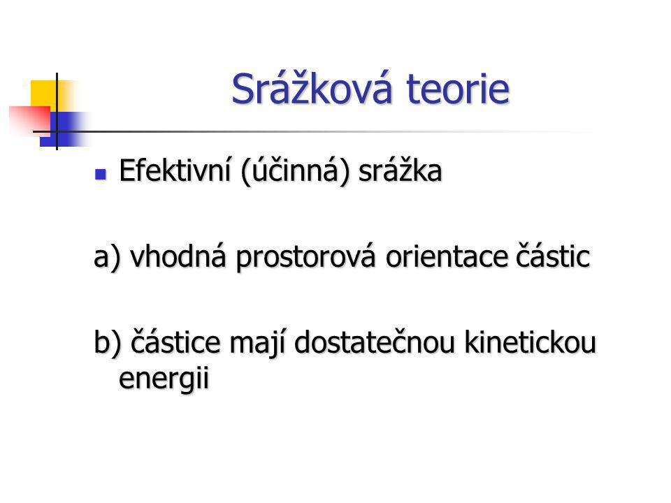Srážková teorie Efektivní (účinná) srážka Efektivní (účinná) srážka a) vhodná prostorová orientace částic b) částice mají dostatečnou kinetickou energ