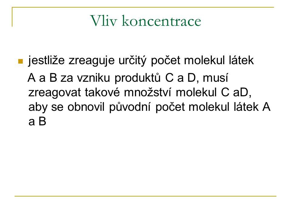 Vliv koncentrace jestliže zreaguje určitý počet molekul látek A a B za vzniku produktů C a D, musí zreagovat takové množství molekul C aD, aby se obnovil původní počet molekul látek A a B