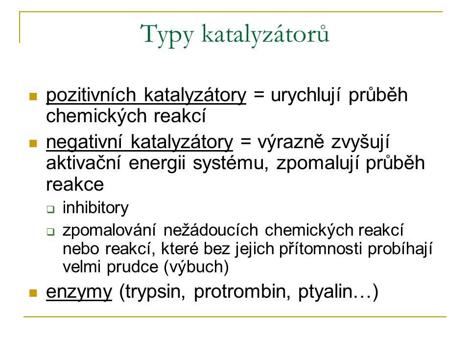Typy katalyzátorů pozitivních katalyzátory = urychlují průběh chemických reakcí negativní katalyzátory = výrazně zvyšují aktivační energii systému, zpomalují průběh reakce  inhibitory  zpomalování nežádoucích chemických reakcí nebo reakcí, které bez jejich přítomnosti probíhají velmi prudce (výbuch) enzymy (trypsin, protrombin, ptyalin…)